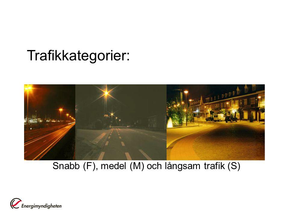 Snabb (F), medel (M) och långsam trafik (S) Trafikkategorier: