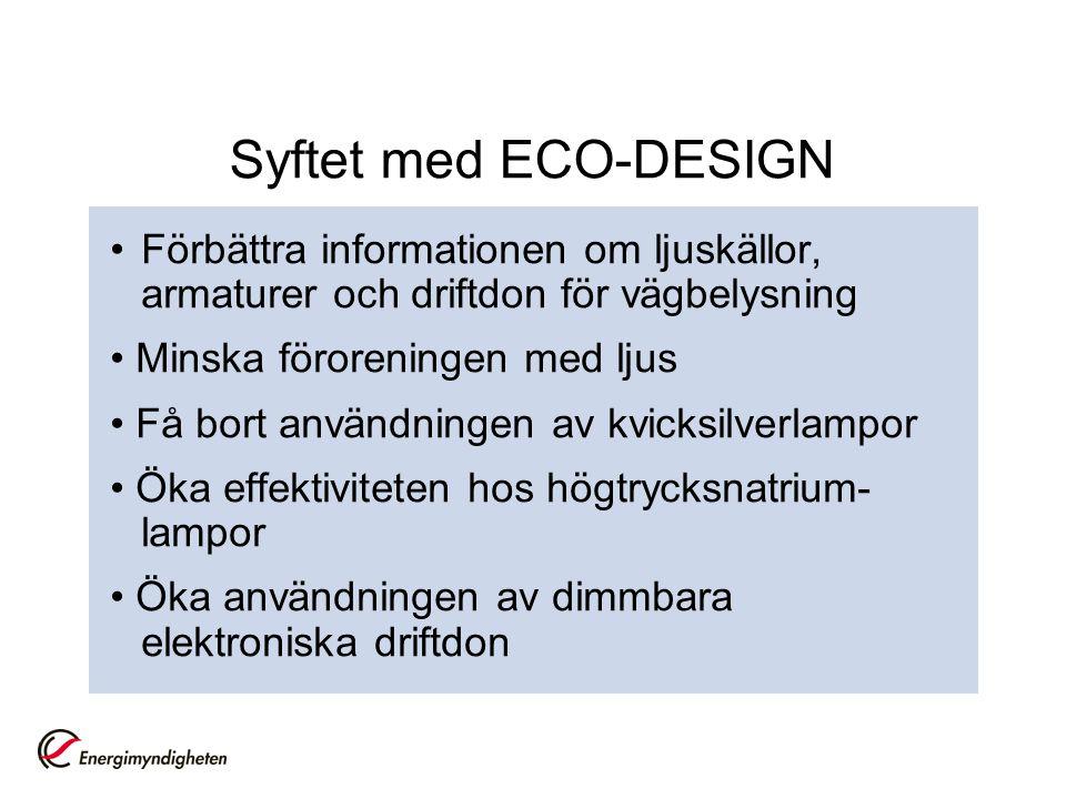 Syftet med ECO-DESIGN Förbättra informationen om ljuskällor, armaturer och driftdon för vägbelysning Minska föroreningen med ljus Få bort användningen