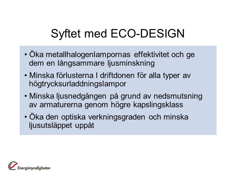 Syftet med ECO-DESIGN Öka metallhalogenlampornas effektivitet och ge dem en långsammare ljusminskning Minska förlusterna I driftdonen för alla typer a