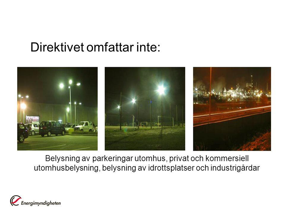 Belysning av parkeringar utomhus, privat och kommersiell utomhusbelysning, belysning av idrottsplatser och industrigårdar Direktivet omfattar inte: