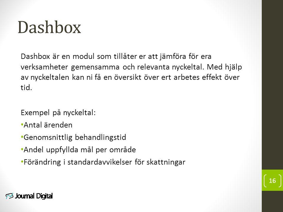 Dashbox Dashbox är en modul som tillåter er att jämföra för era verksamheter gemensamma och relevanta nyckeltal. Med hjälp av nyckeltalen kan ni få en