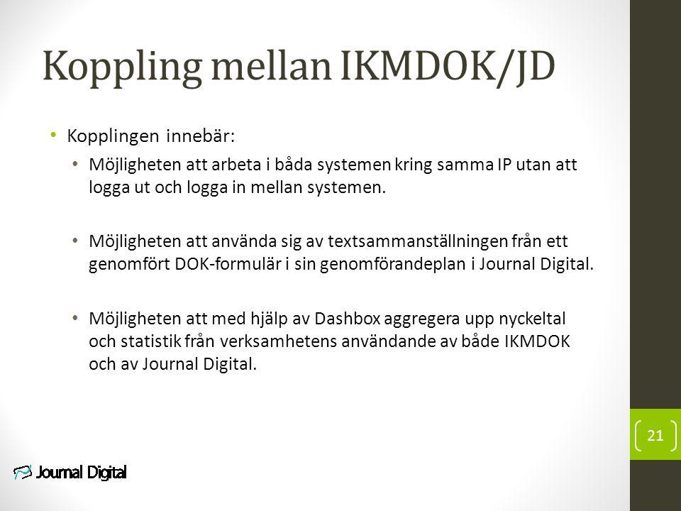 Koppling mellan IKMDOK/JD Kopplingen innebär: Möjligheten att arbeta i båda systemen kring samma IP utan att logga ut och logga in mellan systemen. Mö