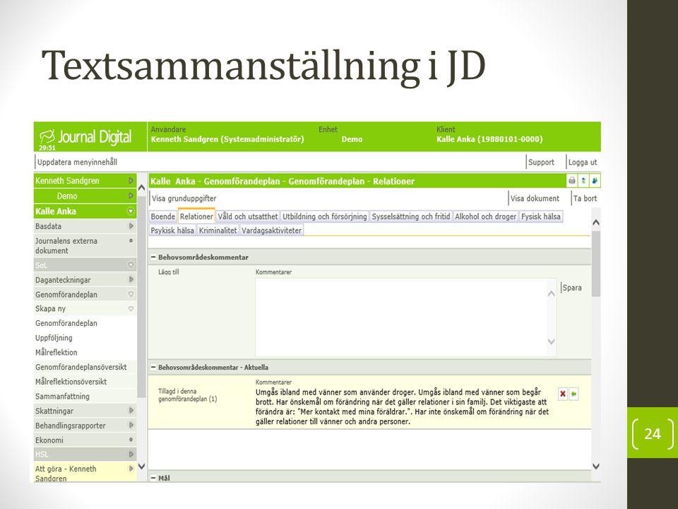 Textsammanställning i JD 24