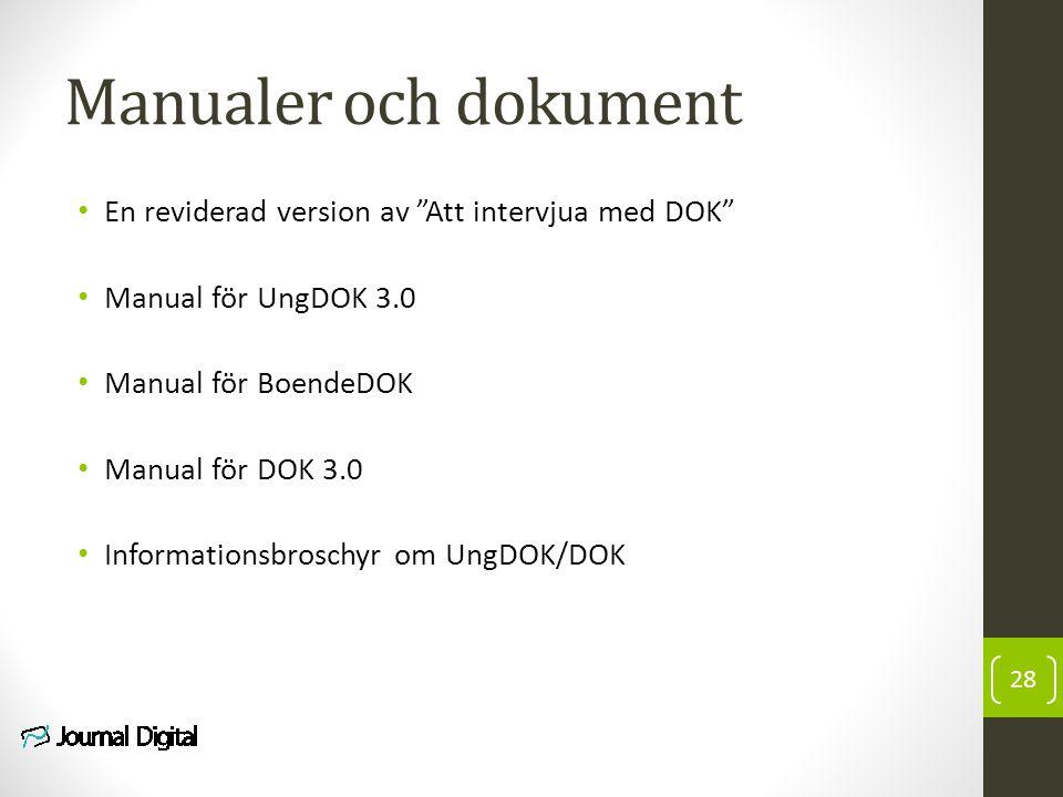 """Manualer och dokument En reviderad version av """"Att intervjua med DOK"""" Manual för UngDOK 3.0 Manual för BoendeDOK Manual för DOK 3.0 Informationsbrosch"""
