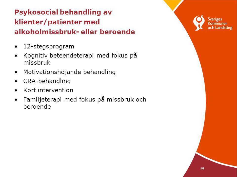 18 Psykosocial behandling av klienter/patienter med alkoholmissbruk- eller beroende 12-stegsprogram Kognitiv beteendeterapi med fokus på missbruk Moti