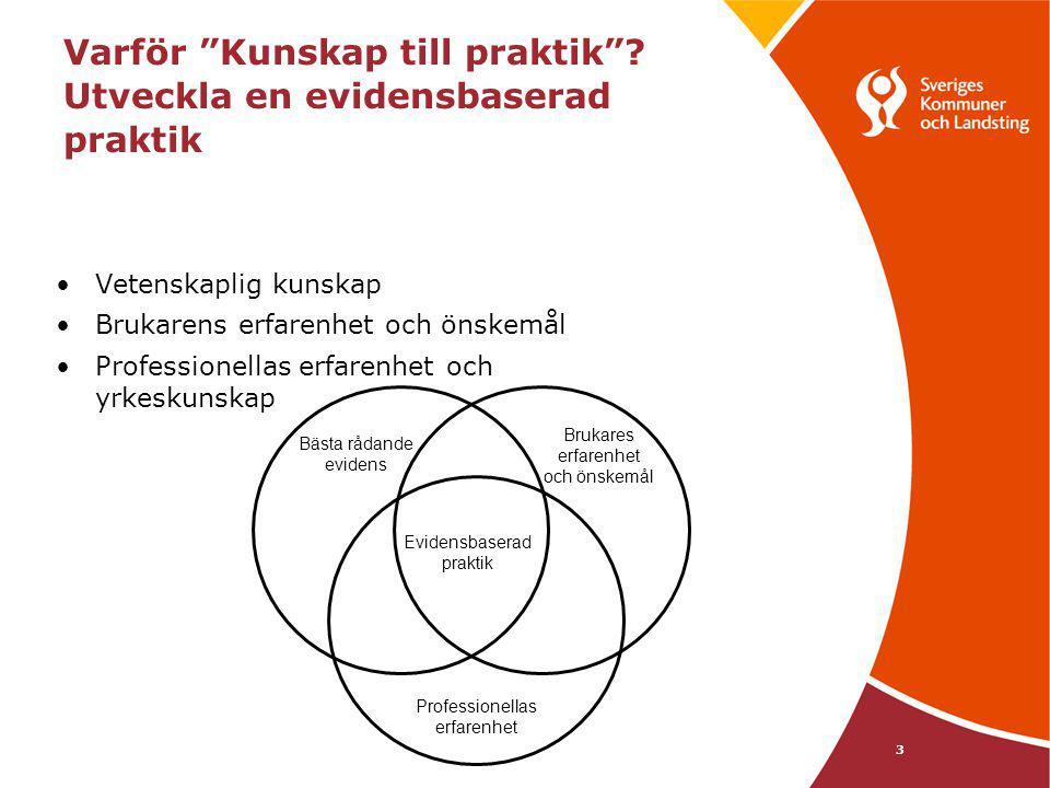 """3 Varför """"Kunskap till praktik""""? Utveckla en evidensbaserad praktik Vetenskaplig kunskap Brukarens erfarenhet och önskemål Professionellas erfarenhet"""