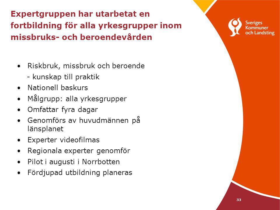 33 Expertgruppen har utarbetat en fortbildning för alla yrkesgrupper inom missbruks- och beroendevården Riskbruk, missbruk och beroende - kunskap till