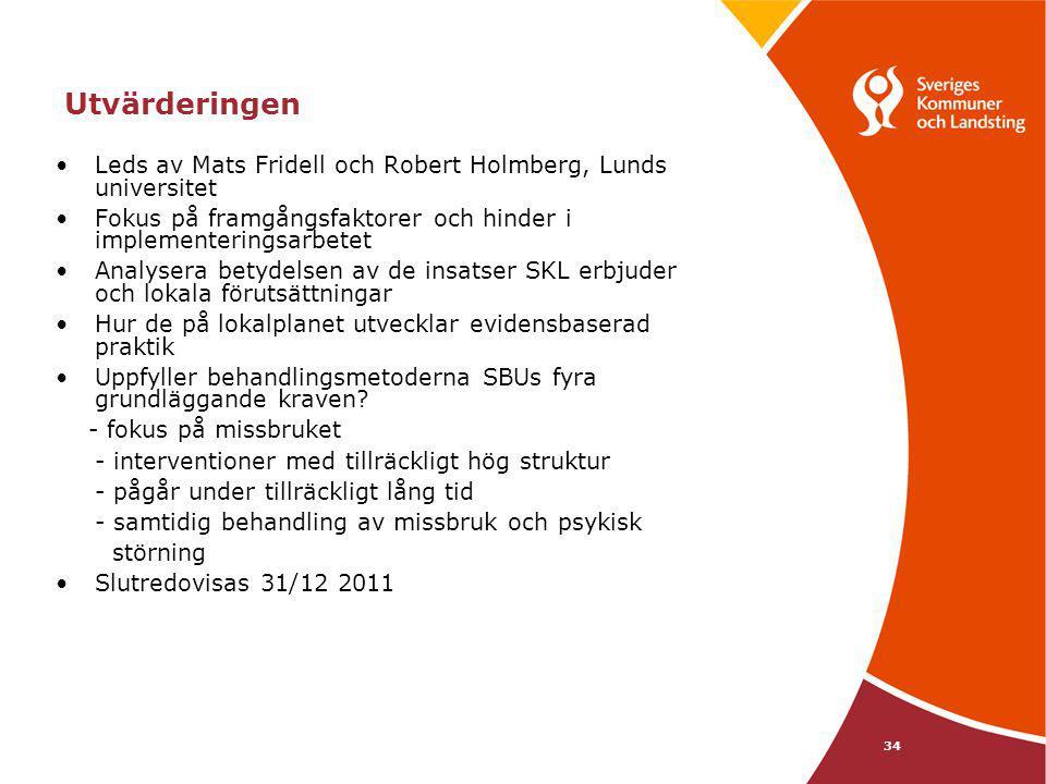 34 Utvärderingen Leds av Mats Fridell och Robert Holmberg, Lunds universitet Fokus på framgångsfaktorer och hinder i implementeringsarbetet Analysera