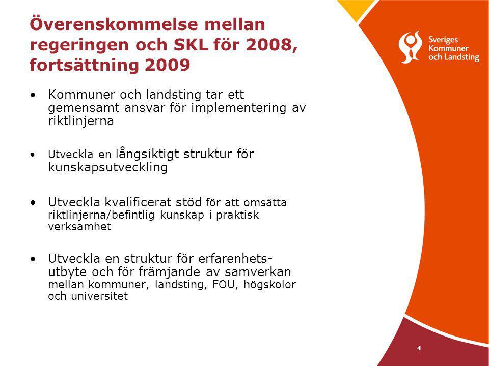 4 Överenskommelse mellan regeringen och SKL för 2008, fortsättning 2009 Kommuner och landsting tar ett gemensamt ansvar för implementering av riktlinj
