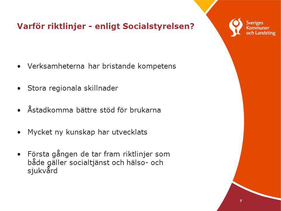 7 Varför riktlinjer - enligt Socialstyrelsen? Verksamheterna har bristande kompetens Stora regionala skillnader Åstadkomma bättre stöd för brukarna My