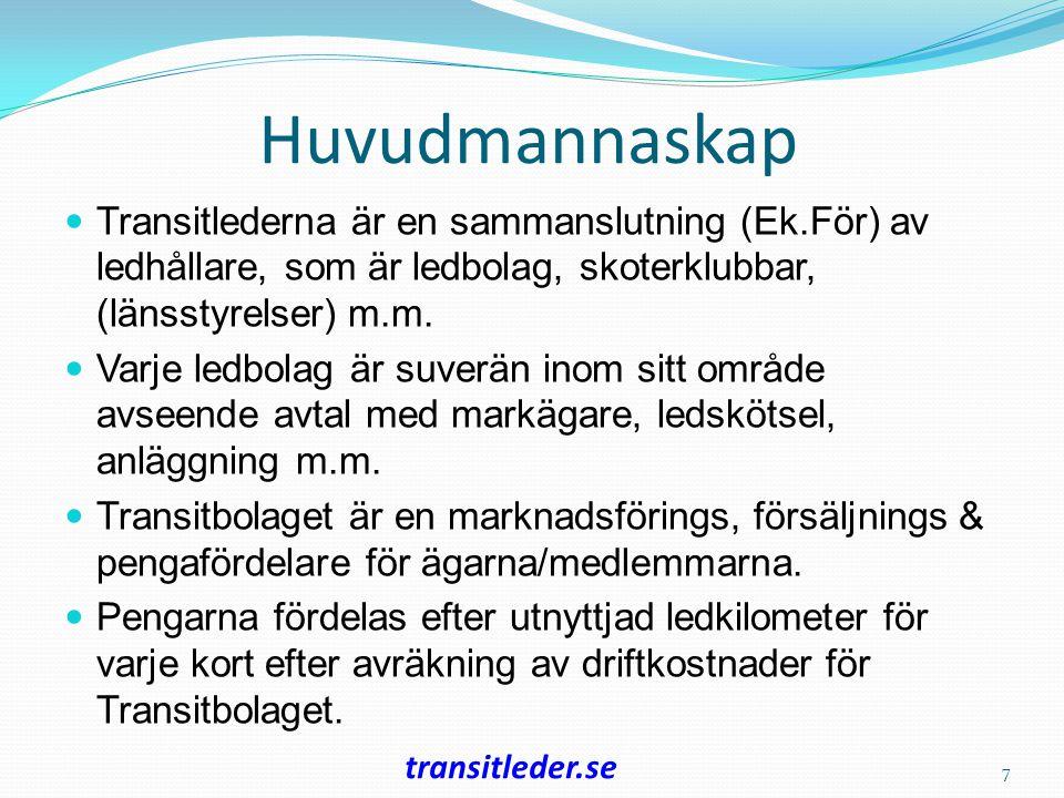 Huvudmannaskap Transitlederna är en sammanslutning (Ek.För) av ledhållare, som är ledbolag, skoterklubbar, (länsstyrelser) m.m.