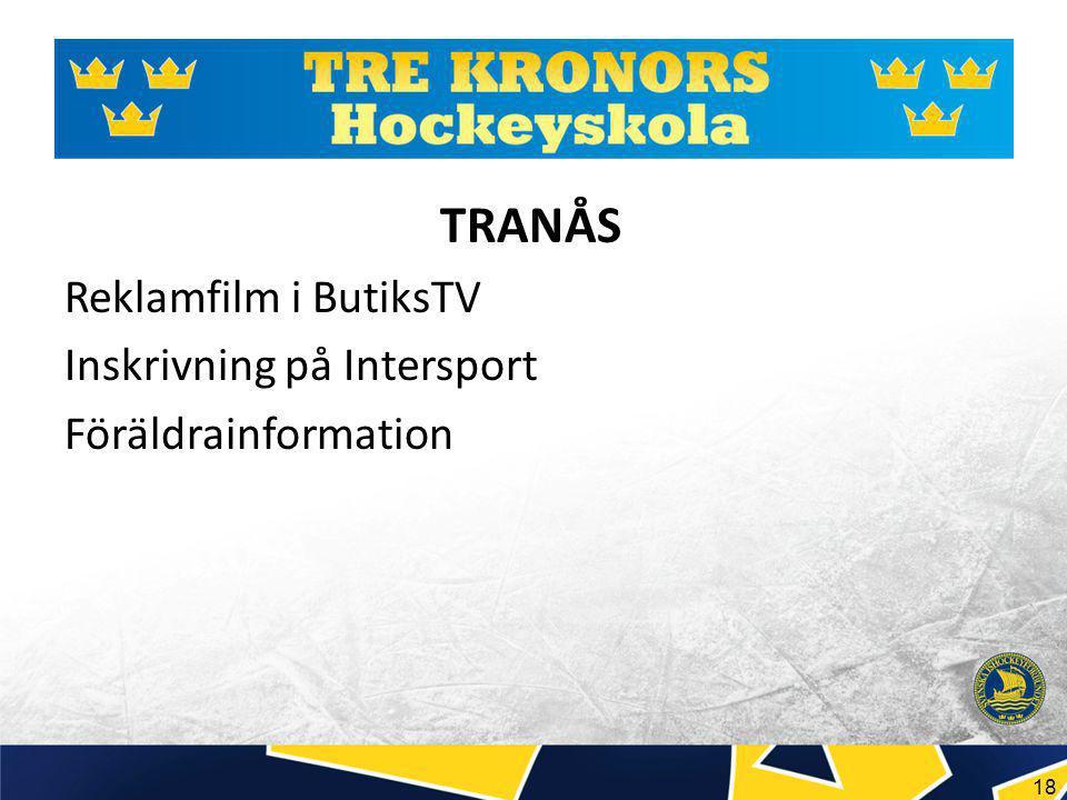 18 TRANÅS Reklamfilm i ButiksTV Inskrivning på Intersport Föräldrainformation