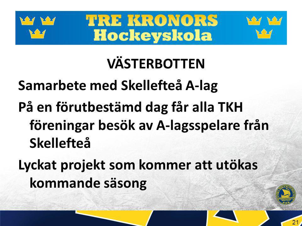 21 VÄSTERBOTTEN Samarbete med Skellefteå A-lag På en förutbestämd dag får alla TKH föreningar besök av A-lagsspelare från Skellefteå Lyckat projekt som kommer att utökas kommande säsong