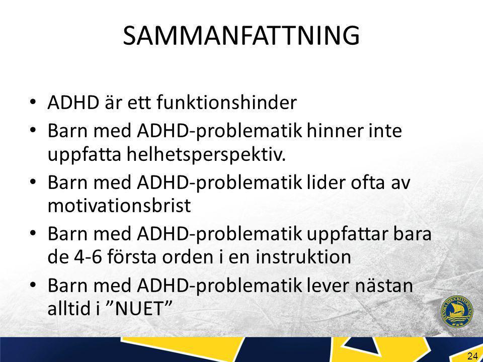24 SAMMANFATTNING ADHD är ett funktionshinder Barn med ADHD-problematik hinner inte uppfatta helhetsperspektiv.