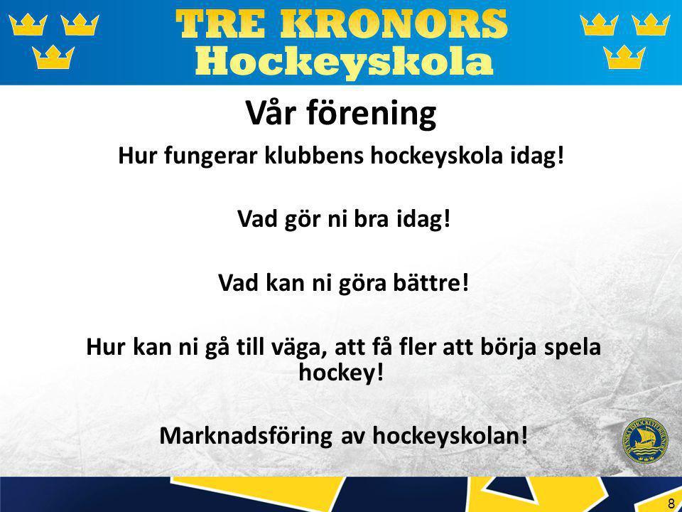 8 Vår förening Hur fungerar klubbens hockeyskola idag.