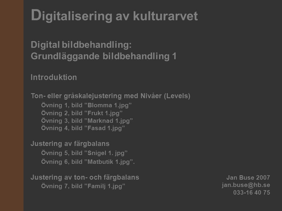 D igitalisering av kulturarvet Digital bildbehandling: Grundläggande bildbehandling 1 Introduktion Ton- eller gråskalejustering med Nivåer (Levels) Öv