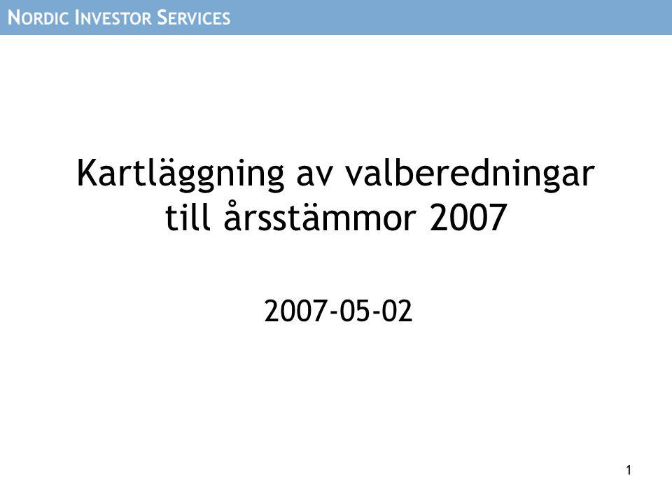 1 Kartläggning av valberedningar till årsstämmor 2007 2007-05-02