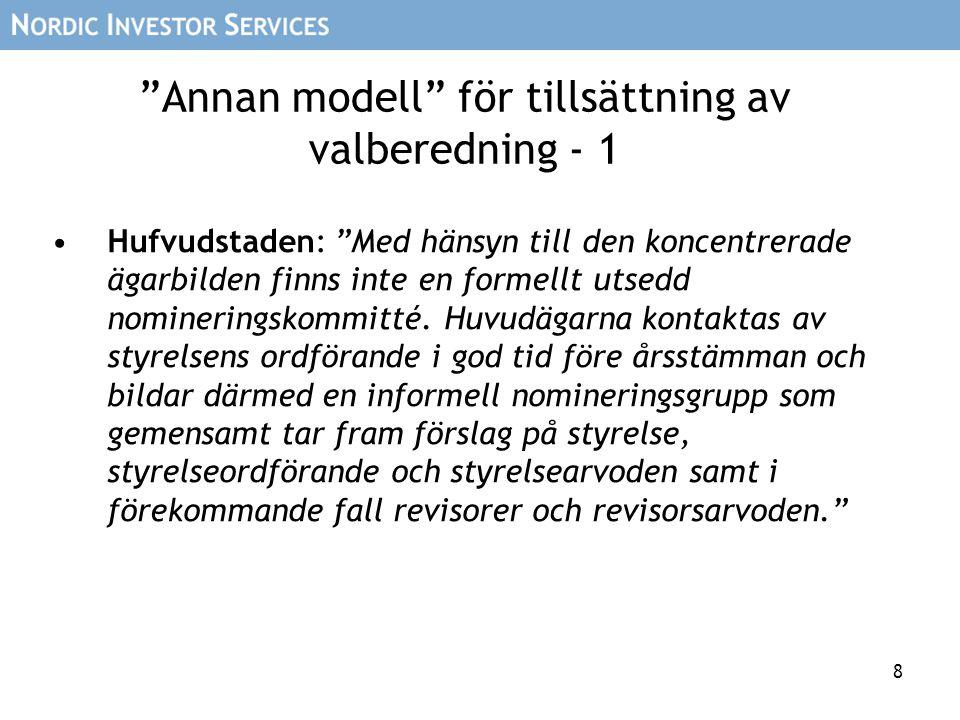 """8 """"Annan modell"""" för tillsättning av valberedning - 1 Hufvudstaden: """"Med hänsyn till den koncentrerade ägarbilden finns inte en formellt utsedd nomine"""