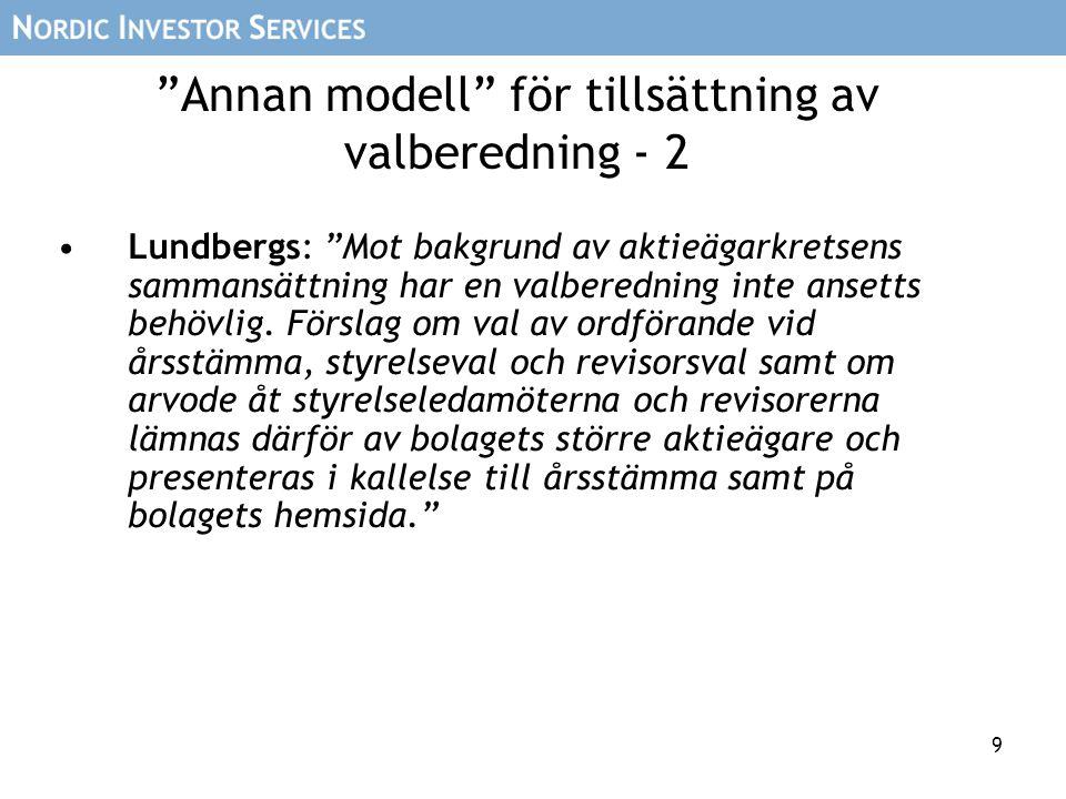 """9 """"Annan modell"""" för tillsättning av valberedning - 2 Lundbergs: """"Mot bakgrund av aktieägarkretsens sammansättning har en valberedning inte ansetts be"""