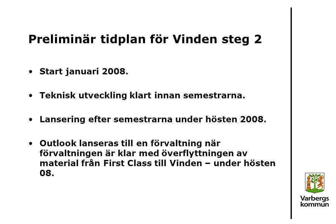 Preliminär tidplan för Vinden steg 2 Start januari 2008. Teknisk utveckling klart innan semestrarna. Lansering efter semestrarna under hösten 2008. Ou
