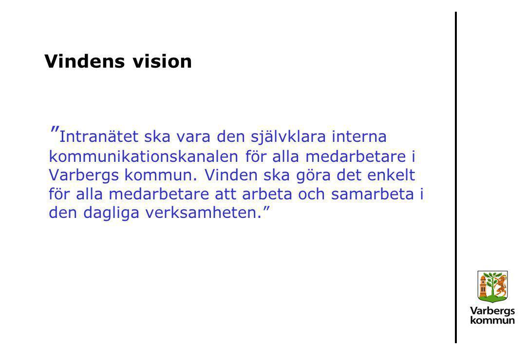"""Vindens vision """" Intranätet ska vara den självklara interna kommunikationskanalen för alla medarbetare i Varbergs kommun. Vinden ska göra det enkelt f"""