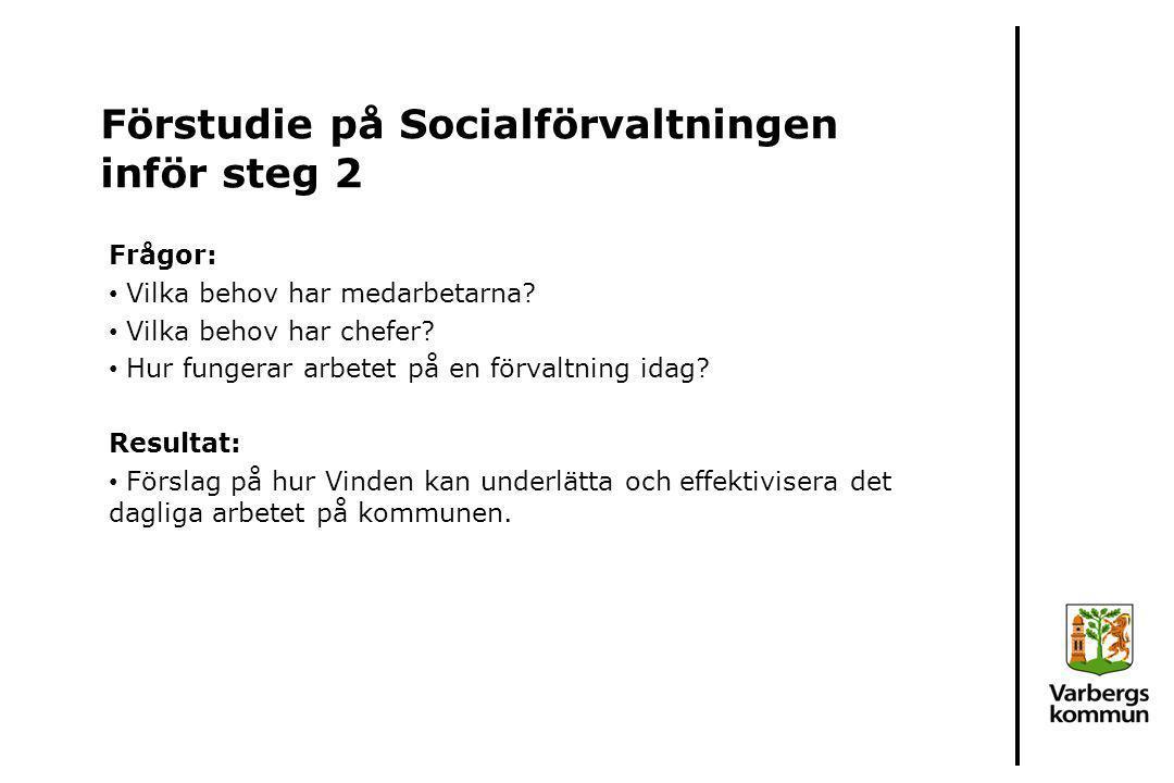Förstudie på Socialförvaltningen inför steg 2 Frågor: Vilka behov har medarbetarna? Vilka behov har chefer? Hur fungerar arbetet på en förvaltning ida