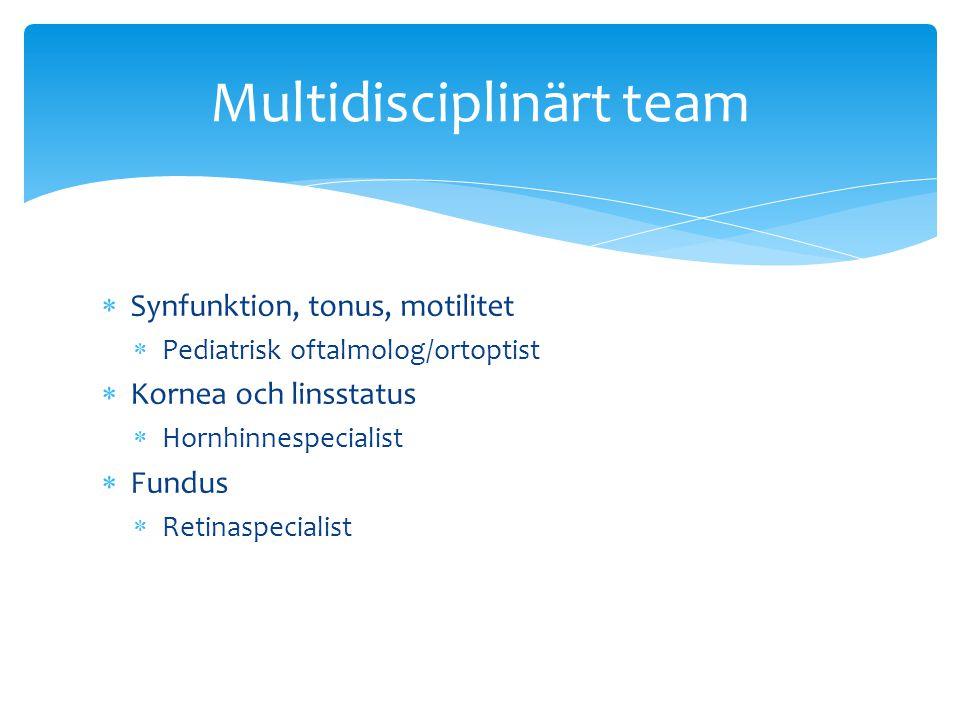  Synfunktion, tonus, motilitet  Pediatrisk oftalmolog/ortoptist  Kornea och linsstatus  Hornhinnespecialist  Fundus  Retinaspecialist Multidisci