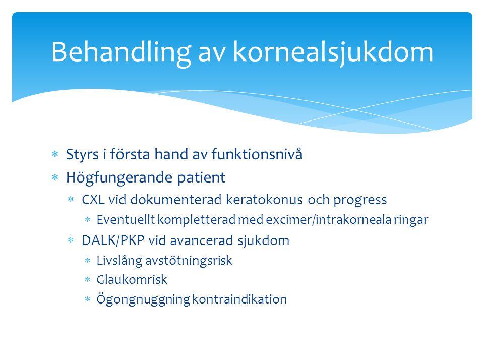  Styrs i första hand av funktionsnivå  Högfungerande patient  CXL vid dokumenterad keratokonus och progress  Eventuellt kompletterad med excimer/i