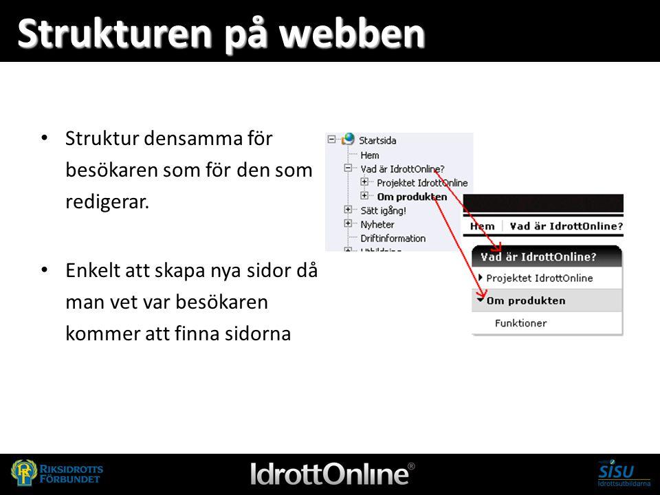 - en del av svensk idrott Strukturen på webben Struktur densamma för besökaren som för den som redigerar. Enkelt att skapa nya sidor då man vet var be