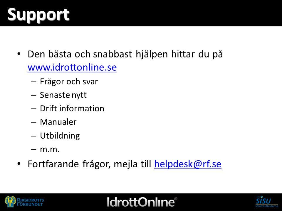 Support Den bästa och snabbast hjälpen hittar du på www.idrottonline.se www.idrottonline.se – Frågor och svar – Senaste nytt – Drift information – Man
