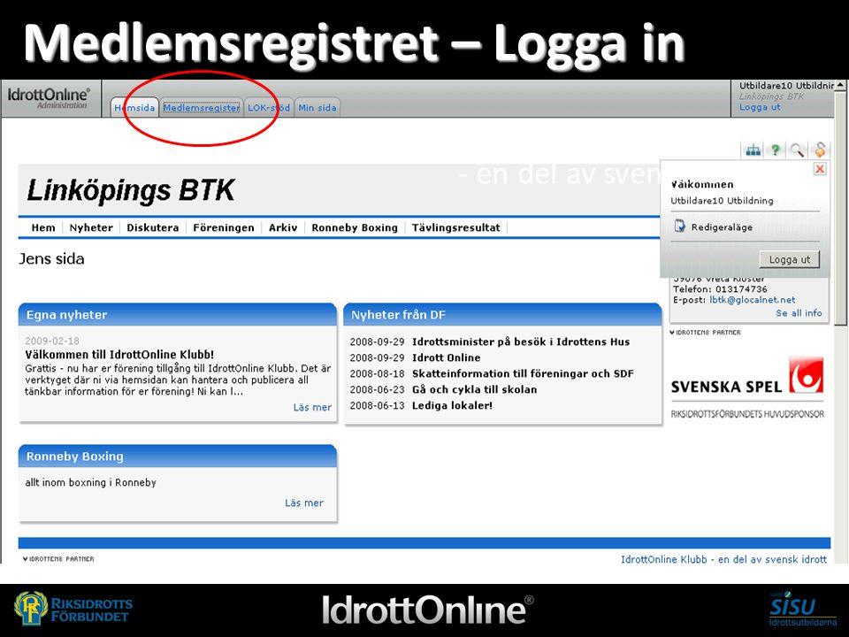- en del av svensk idrott Medlemsregistret – Logga in