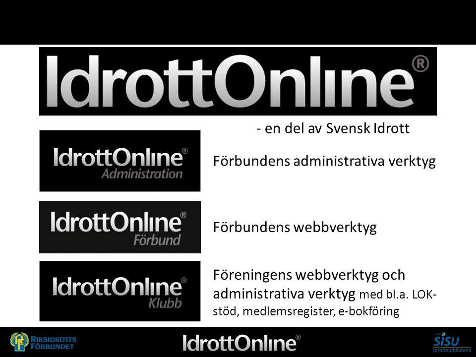 - en del av svensk idrott - en del av Svensk Idrott Förbundens administrativa verktyg Förbundens webbverktyg Föreningens webbverktyg och administrativ