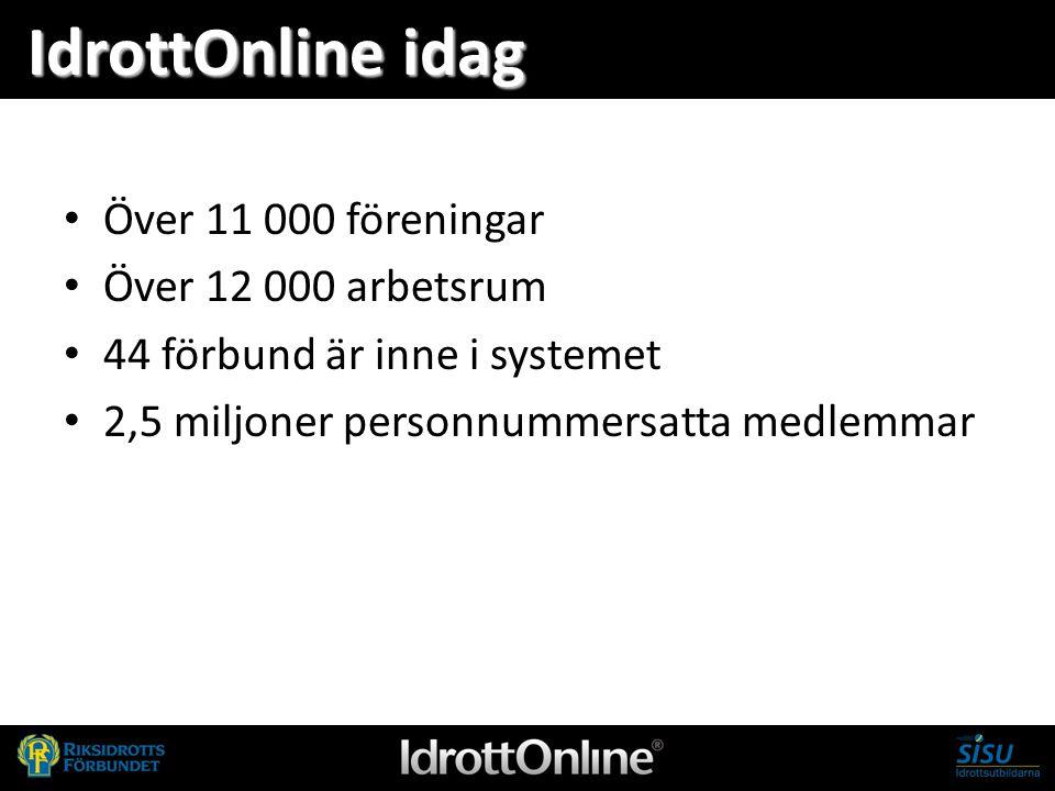 - en del av svensk idrott IdrottOnline idag Över 11 000 föreningar Över 12 000 arbetsrum 44 förbund är inne i systemet 2,5 miljoner personnummersatta