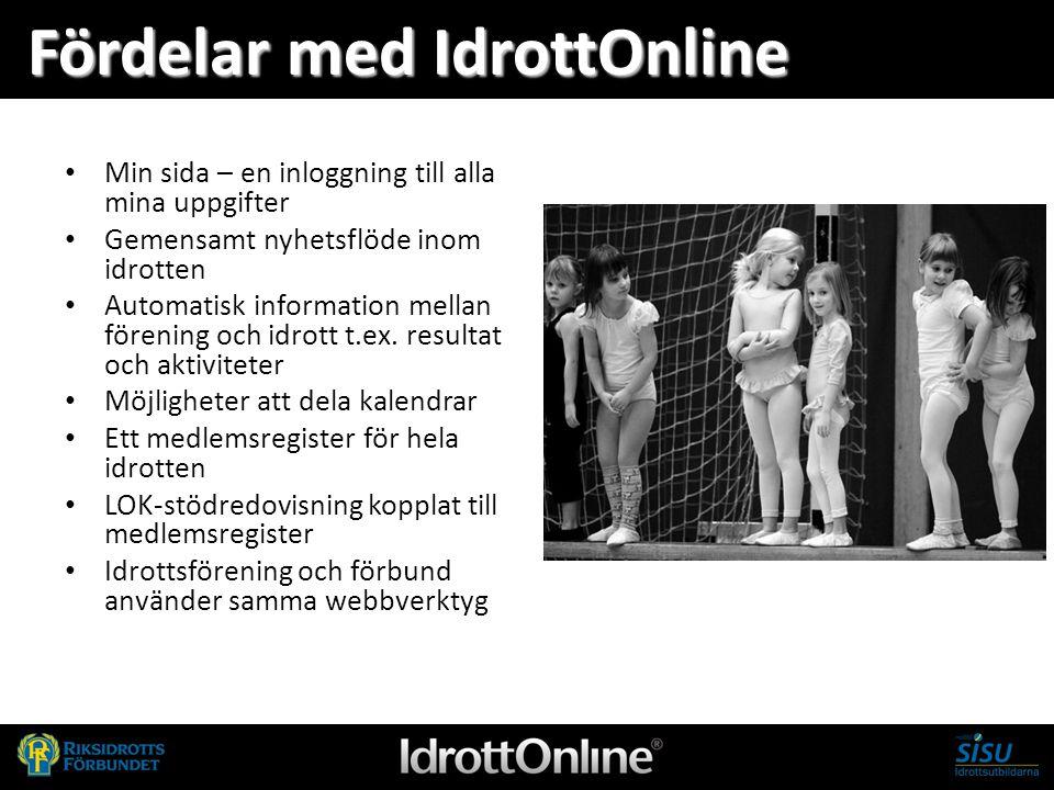 - en del av svensk idrott Fördelar med IdrottOnline Min sida – en inloggning till alla mina uppgifter Gemensamt nyhetsflöde inom idrotten Automatisk i