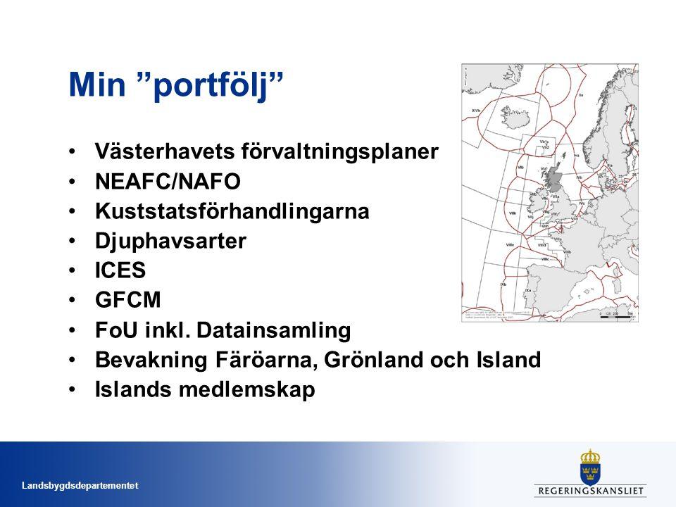 Landsbygdsdepartementet Min portfölj Västerhavets förvaltningsplaner NEAFC/NAFO Kuststatsförhandlingarna Djuphavsarter ICES GFCM FoU inkl.