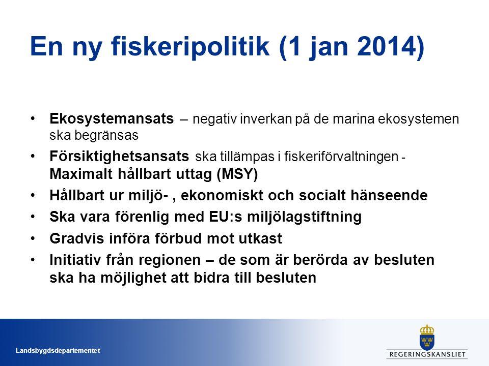 Landsbygdsdepartementet En ny fiskeripolitik (1 jan 2014) Ekosystemansats – negativ inverkan på de marina ekosystemen ska begränsas Försiktighetsansats ska tillämpas i fiskeriförvaltningen - Maximalt hållbart uttag (MSY) Hållbart ur miljö-, ekonomiskt och socialt hänseende Ska vara förenlig med EU:s miljölagstiftning Gradvis införa förbud mot utkast Initiativ från regionen – de som är berörda av besluten ska ha möjlighet att bidra till besluten