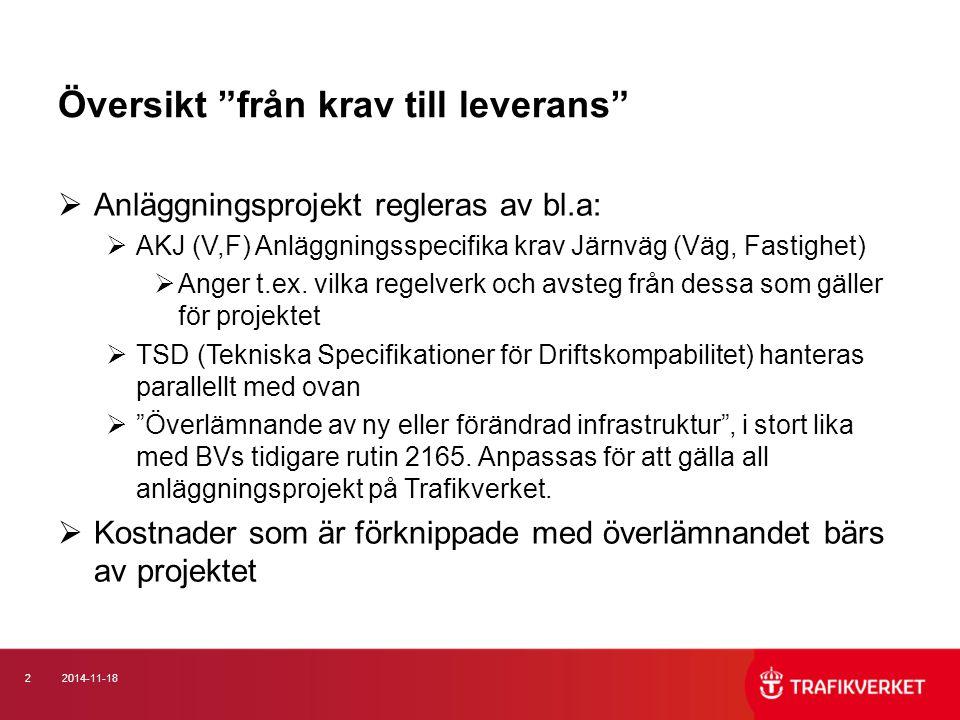 32014-11-18 Väg respektive Järnväg  Grov generalisering  Väg: förvaltningsdata förvaltas projektorienterat i chaos samt geografiskt i förvaltningssystem, t.ex.