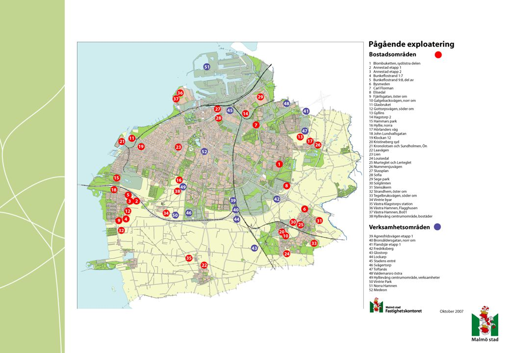 Därför tog vi fram Projektstyrning för Exploatering Utveckling av samarbetet Fk-Gk-Sbk-Miljöfv Tydliggöra Fk´s roll i stadens utbyggnad Behov av överenskommelser med Gk Dokumentera exploateringsprocessen Få in nya medarbetare snabbare i arbetet Behov av konsekvens och enhetlighet Behov av intern ekonomistyrning Många projekt flöt omkring i redovisningen Började 1999, klar 2000.