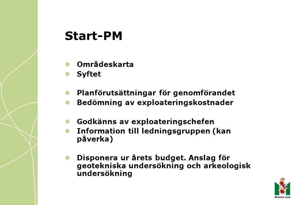 Start-PM Områdeskarta Syftet Planförutsättningar för genomförandet Bedömning av exploateringskostnader Godkänns av exploateringschefen Information till ledningsgruppen (kan påverka) Disponera ur årets budget.