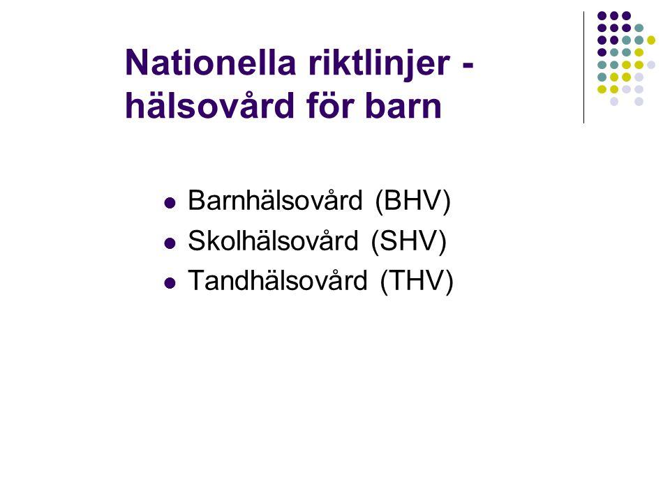 Nationella riktlinjer - hälsovård för barn Barnhälsovård (BHV) Skolhälsovård (SHV) Tandhälsovård (THV)
