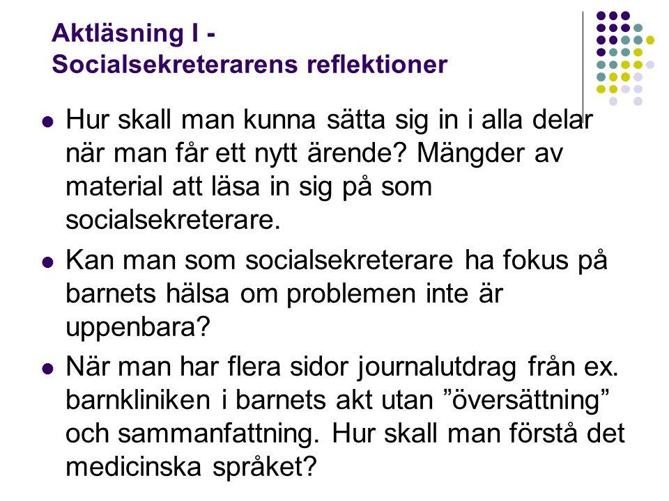 Aktläsning I - Socialsekreterarens reflektioner Hur skall man kunna sätta sig in i alla delar när man får ett nytt ärende? Mängder av material att läs