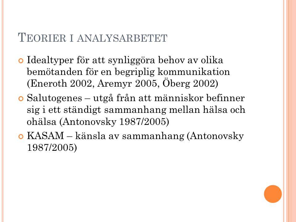 T EORIER I ANALYSARBETET Idealtyper för att synliggöra behov av olika bemötanden för en begriplig kommunikation (Eneroth 2002, Aremyr 2005, Öberg 2002