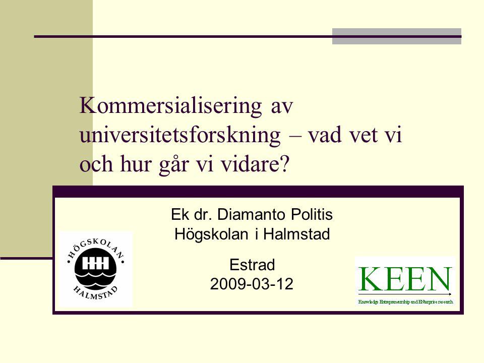 Kommersialisering av universitetsforskning – vad vet vi och hur går vi vidare? Ek dr. Diamanto Politis Högskolan i Halmstad Estrad 2009-03-12