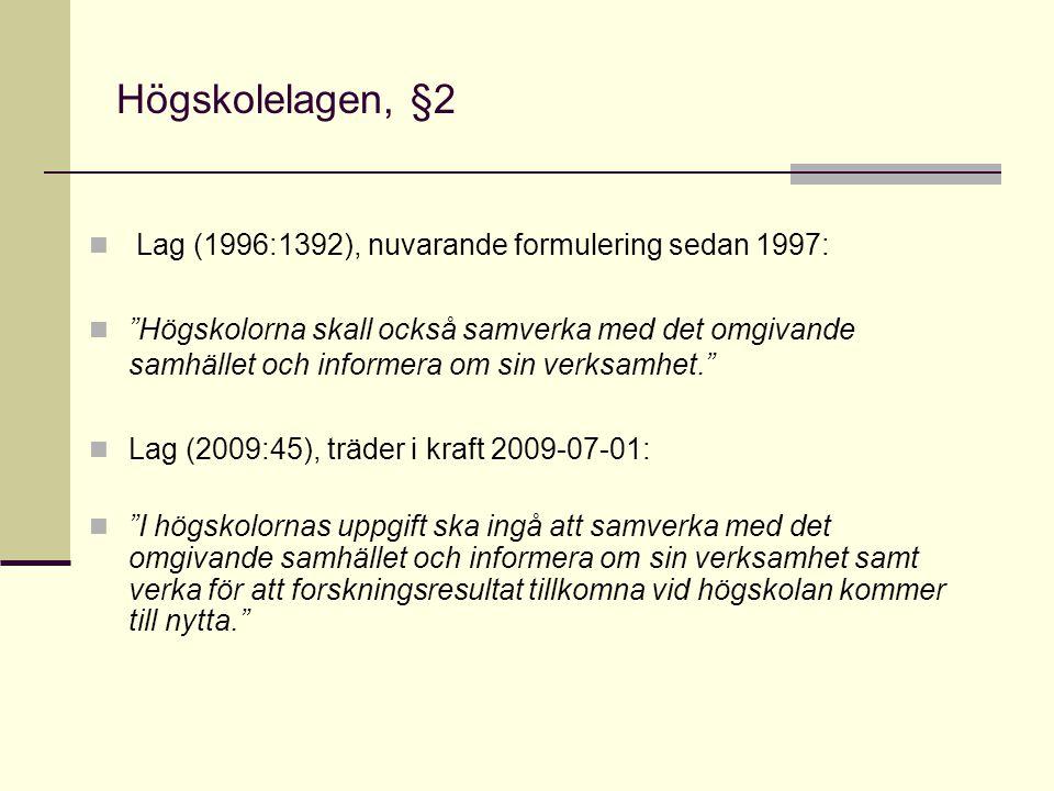 """Högskolelagen, §2 Lag (1996:1392), nuvarande formulering sedan 1997: """"Högskolorna skall också samverka med det omgivande samhället och informera om si"""