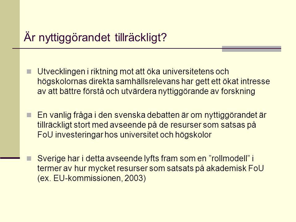 Är nyttiggörandet tillräckligt? Utvecklingen i riktning mot att öka universitetens och högskolornas direkta samhällsrelevans har gett ett ökat intress