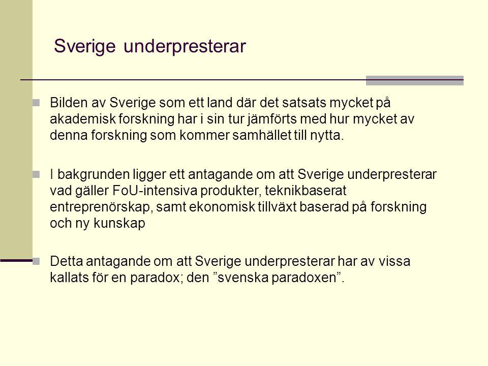 Sverige underpresterar Bilden av Sverige som ett land där det satsats mycket på akademisk forskning har i sin tur jämförts med hur mycket av denna forskning som kommer samhället till nytta.