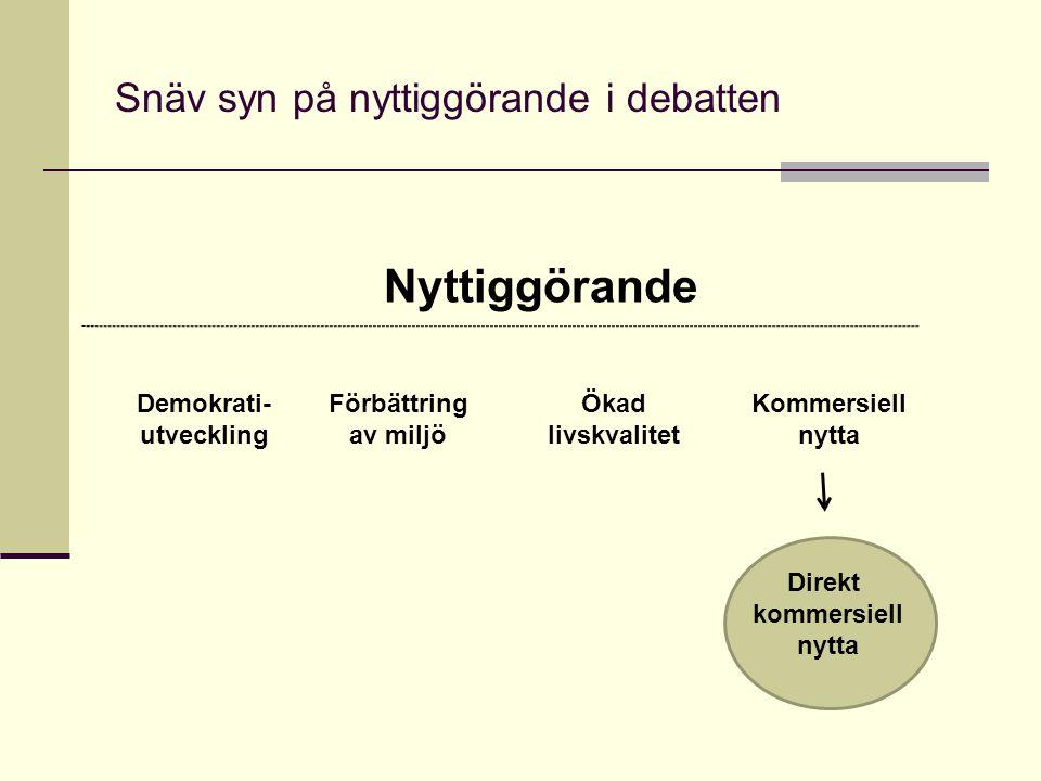 Snäv syn på nyttiggörande i debatten Nyttiggörande Kommersiell nytta Direkt kommersiell nytta Demokrati- utveckling Förbättring av miljö Ökad livskval