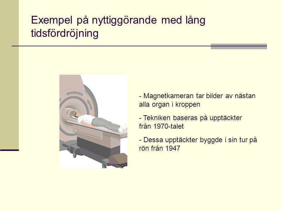 Exempel på nyttiggörande med lång tidsfördröjning - Magnetkameran tar bilder av nästan alla organ i kroppen - Tekniken baseras på upptäckter från 1970-talet - Dessa upptäckter byggde i sin tur på rön från 1947