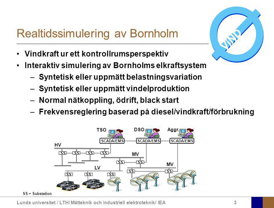 Lunds universitet / LTH/ Mätteknik och industriell elektroteknik/ IEA4 ARISTO Elektromekanisk dynamik Gränssnitt och manövermöjligheter som i kontrollrum Automatik Delar av modellen kan implementeras i Matlab/Simulink