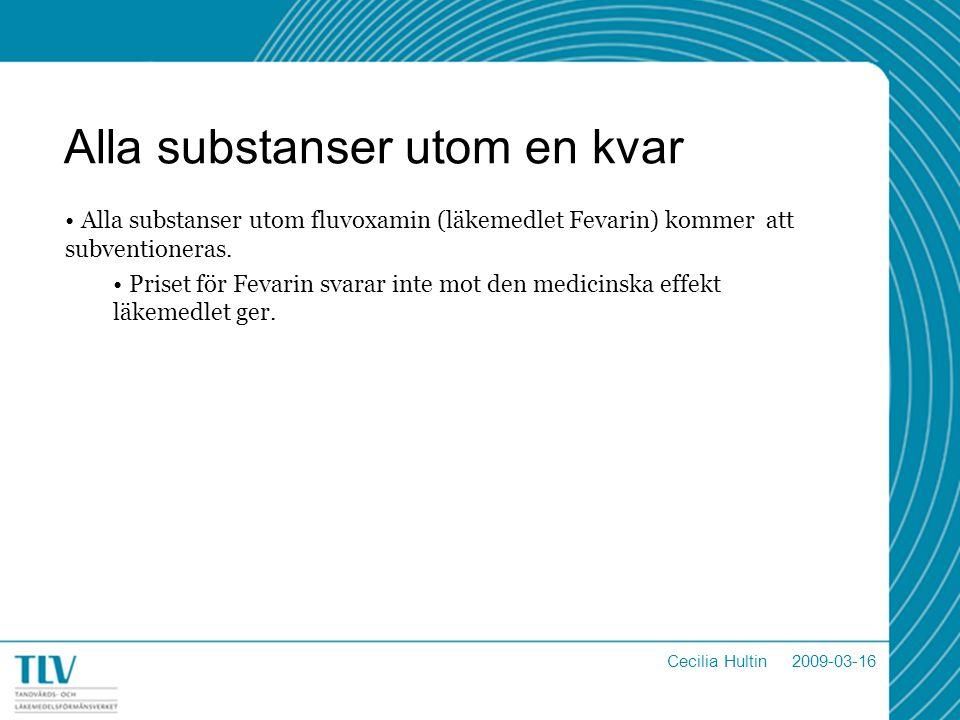 Alla substanser utom en kvar Alla substanser utom fluvoxamin (läkemedlet Fevarin) kommer att subventioneras.